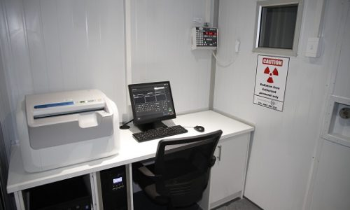 Lead-lined x-ray room with 9mm lead sceening window