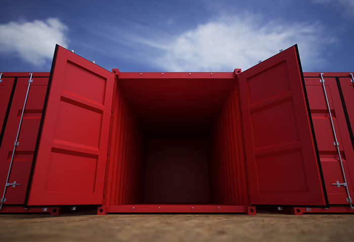 Red Shipping Container - Interior